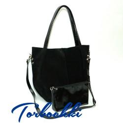 Женская сумка шоппер 2 в 1 из натуральной кожи лак и замши 4575b0ca385