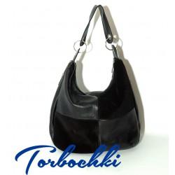 Женская сумка хоббо из натуральной кожи и замши (Hobo bag) d612257a5a0