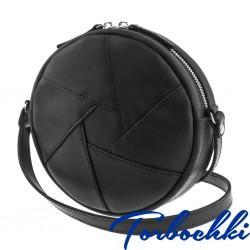 Женская сумочка-кроссбоди круглой формы из натуральной кожи