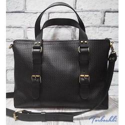 Деловая сумка для ноутбука из натуральной кожи (унисекс)