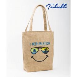"Летняя сумка из рогожки ""I need vacation"""