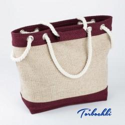 Летняя пляжная сумка из рогожки