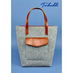 Женска сумка шоппер из фетра и натуральной кожи