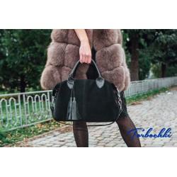 Женская сумка с короткими ручками из натуральной кожи и замши