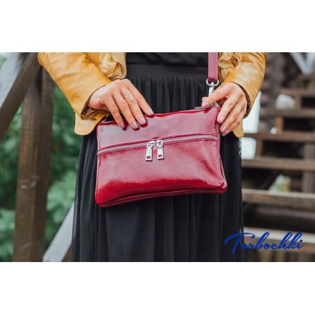 Женская сумочка кроссбоди из натуральной лакированной кожи