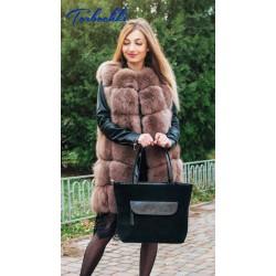 Женская сумка с декоративных карманом из натуральной кожи
