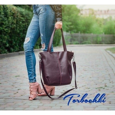 Женская сумка шоппер 2 в 1 из натуральной кожи