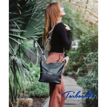Женская сумка с молниями из натуральной кожи
